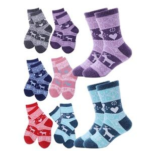 Kids Wool Socks 6 Pairs Toddler Little Girls Boys